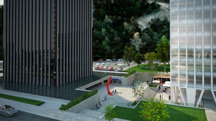Visualización del proyecto actualmente en desarrollo, en donde se puede apreciar el zócalo público entre ambas torres y los espejos de agua. Cortesía de Nueva Santa María