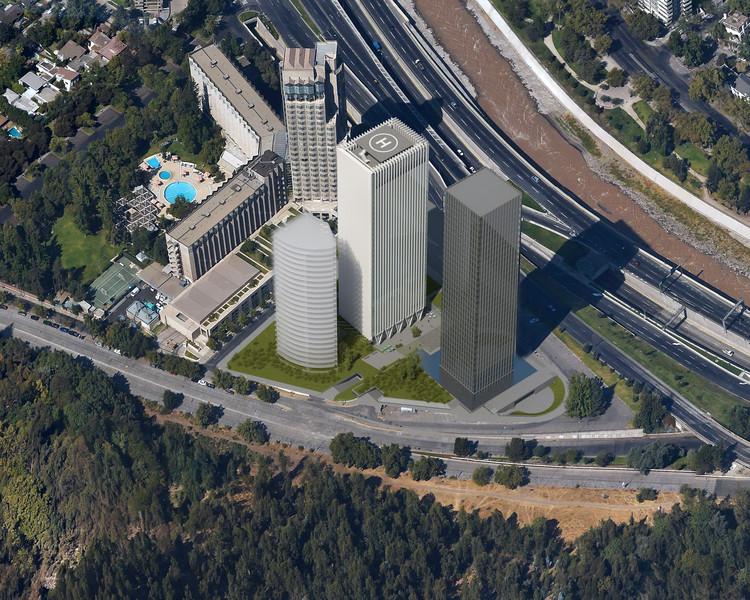 Visualización aérea del proyecto de conjunto. En ella se pueden apreciar la Torre Santa María, la Nueva Santa María y el edificio de residencias ubicado detrás de ella. Cortesía de Nueva Santa María