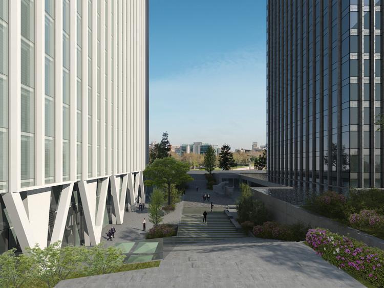 Visualización del espacio público definido por el nuevo proyecto y que une ambas torres. Cortesía de Nueva Santa María