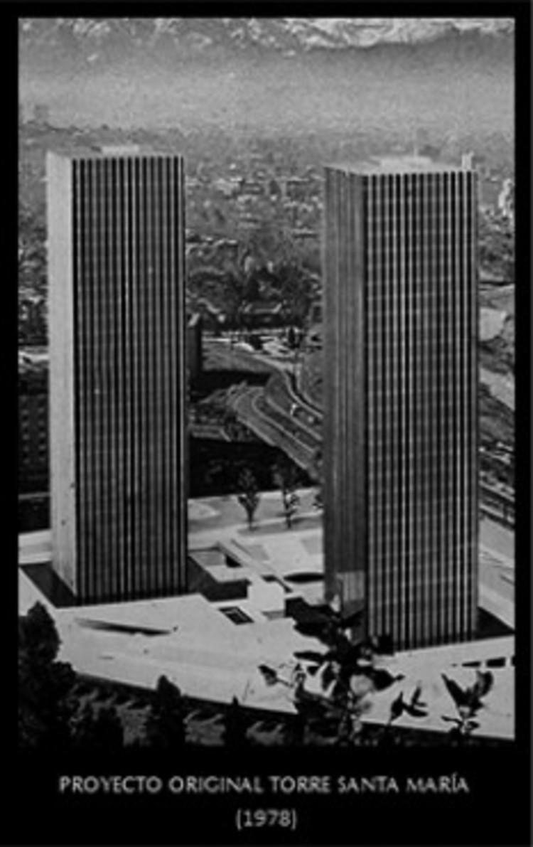 Proyecto original del Centro Santa María, con las dos torres proyectadas. Cortesía de Nueva Santa María
