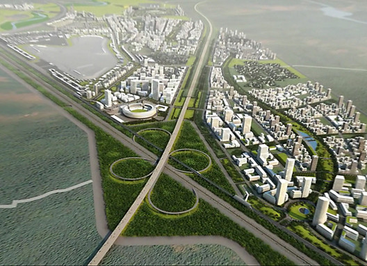 CannonDesign's plan for Jaypee Sports City features a continuous 10-mile park woven through a dense urban fabric of high- and low-rise developments. This entirely walkable parkland links all the city's neighborhoods and social amenities. Image Courtesy of CannonDesign