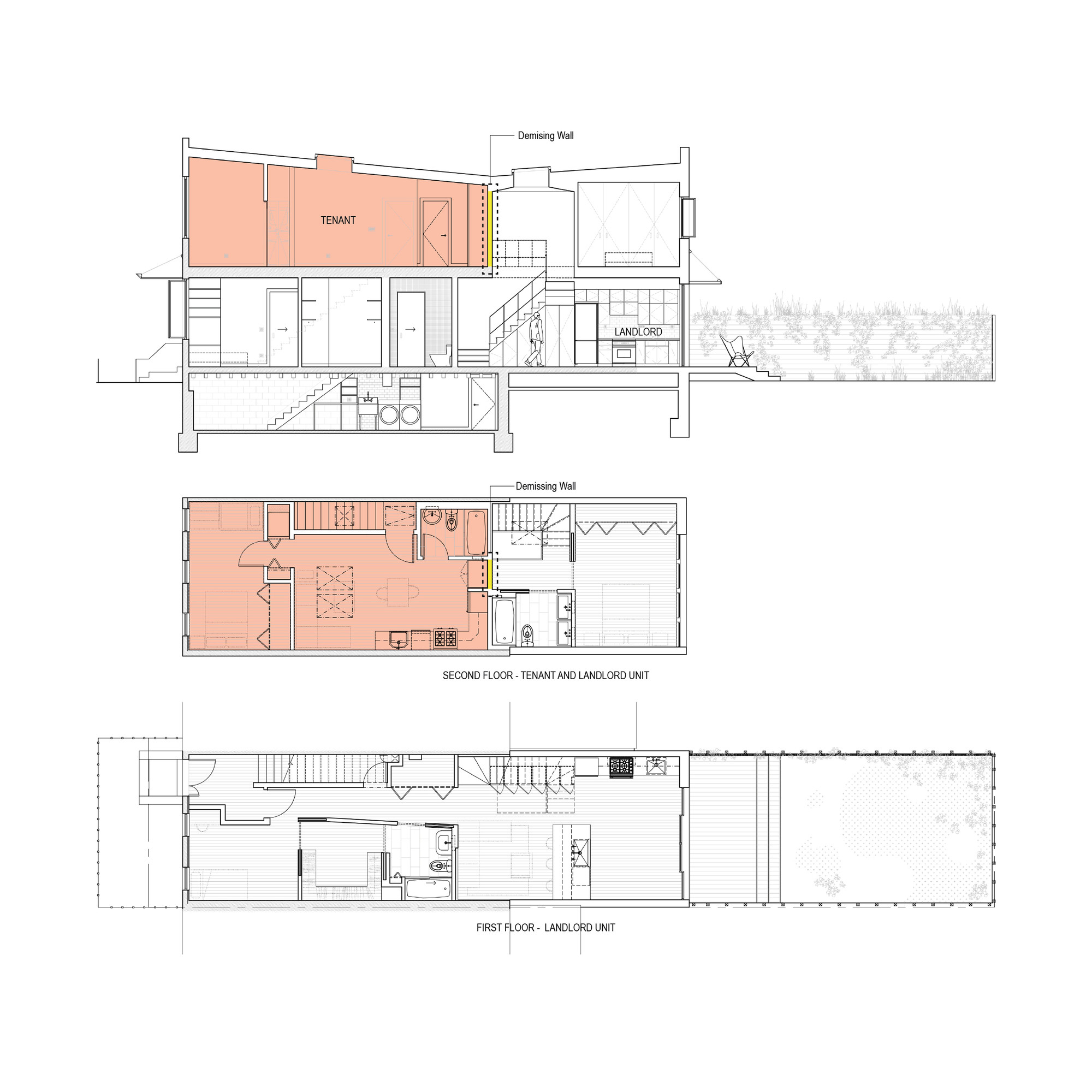 Gallery of brooklyn row house office of architecture 12 for Row house plan layout