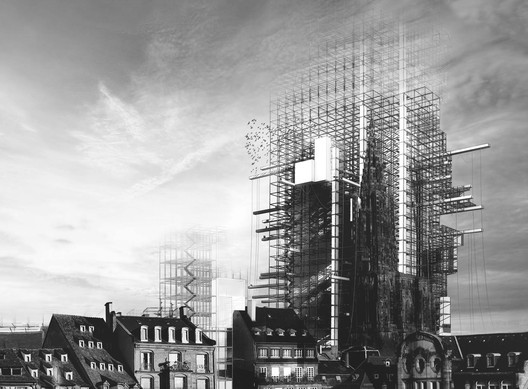 Grand Prize: 'Radical Conservation: A Hyper-Cathedral in Strasbourg' / Simon Oudiette. Image Courtesy of d3