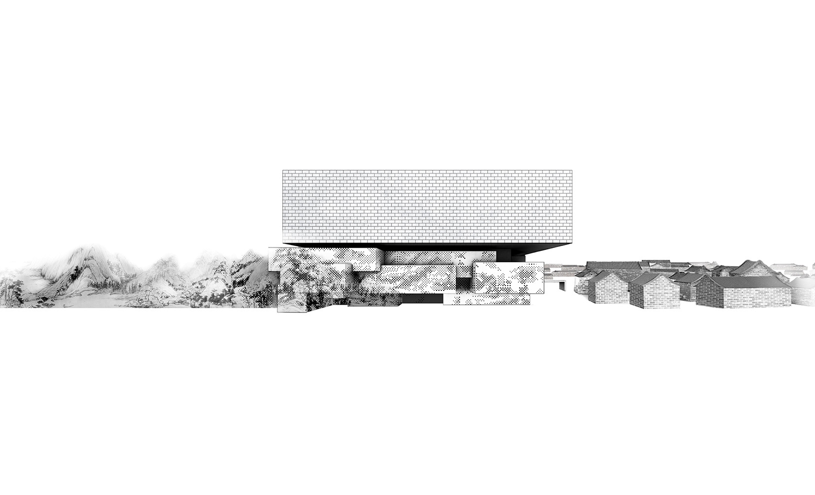 """Guardian Art Center by Büro Ole Scheeren, diagram of perforations derived from """"Dwelling in the Fuchun Mountains"""" painting. Image Courtesy of Büro Ole Scheeren"""