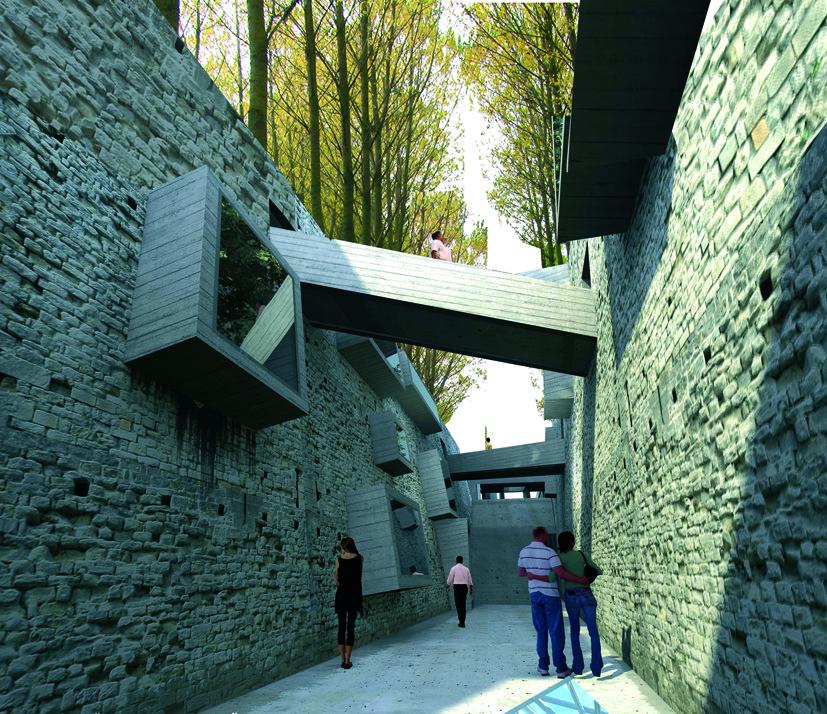 A 5 años del 27F, Chile necesita un edificio que fomente la cultura sísmica, Muros creados con escombros del edificio Alto Río. Image © Patricio Mora