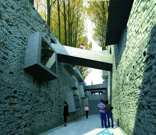 Muros creados con escombros del edificio Alto Río. Image © Patricio Mora