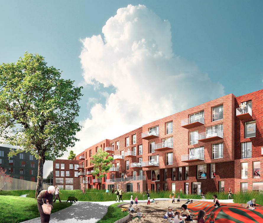 """ADEPT Wins Competition to Design """"Small Piece"""" of Flensburg , The green interior courtyard. Image Courtesy of ADEPT"""