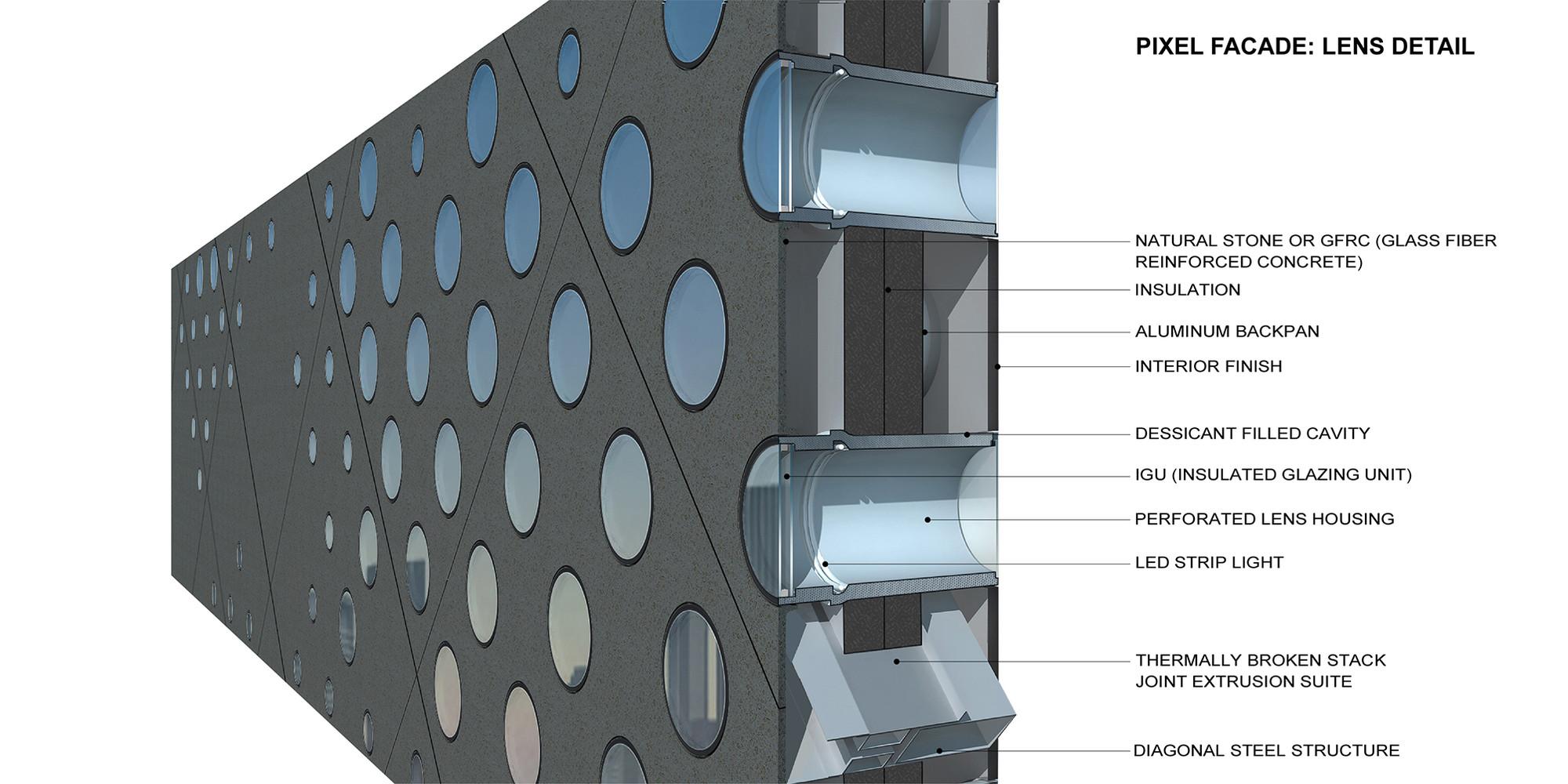 Detail diagram of perforated facade. Image Courtesy of Büro Ole Scheeren