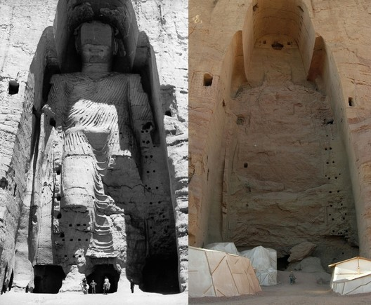 Buddhas of Bamiyan (1963, 2008). Image via Wikipedia