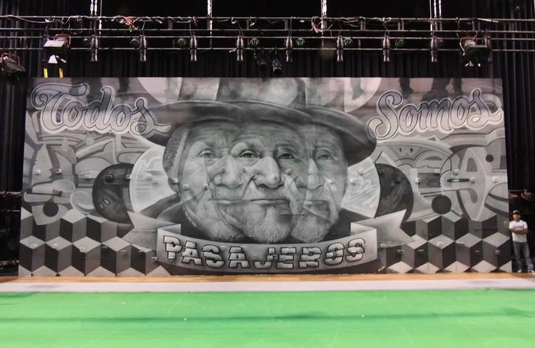 """Mural entre Elliot Túpac y el Decertor para la obra """"El espejo en tus ojos"""" en el Gran Teatro Nacional, Lima (2013). Image vía Fan Page el Decertor"""
