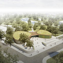 nps tchoban voss and Hager Partner Design Recreation Center for Nauen Aerial view. Image Courtesy of nps tchoban voss