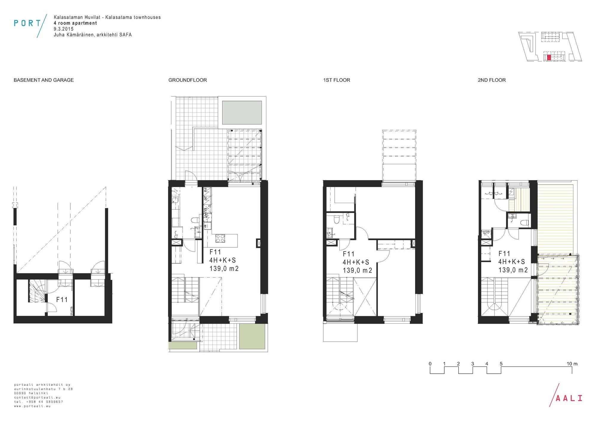 Kalasataman huvilat townhouses portaali architects ltd for Large townhouse floor plans