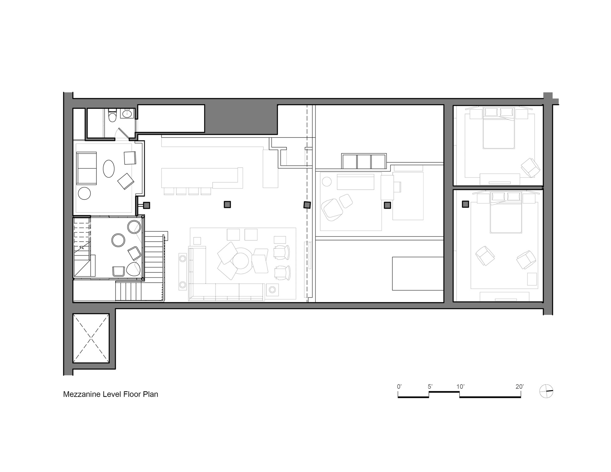 Gallery of tribeca loft andrew franz architect 10 for House plans with mezzanine floor