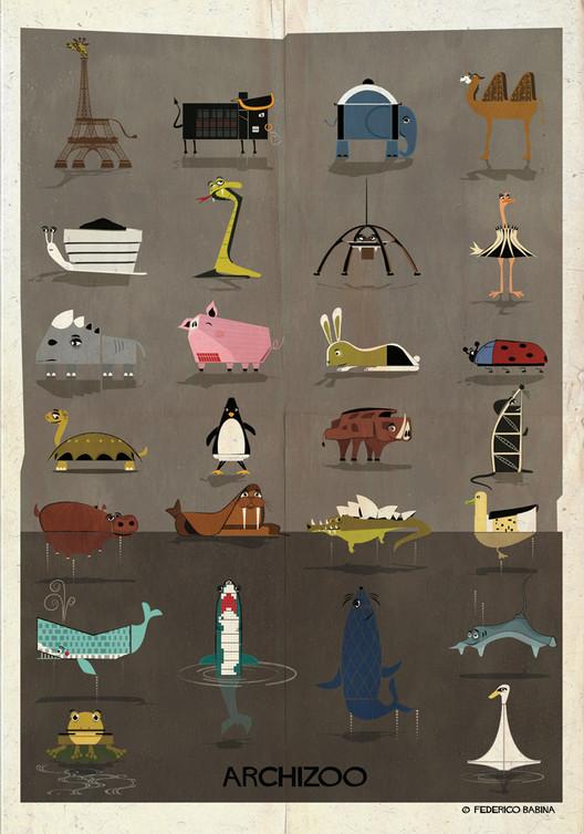 """ARCHIZOO: Ilustraciones de """"animales"""" arquitectónicos por Federico Babina, © Federico Babina"""