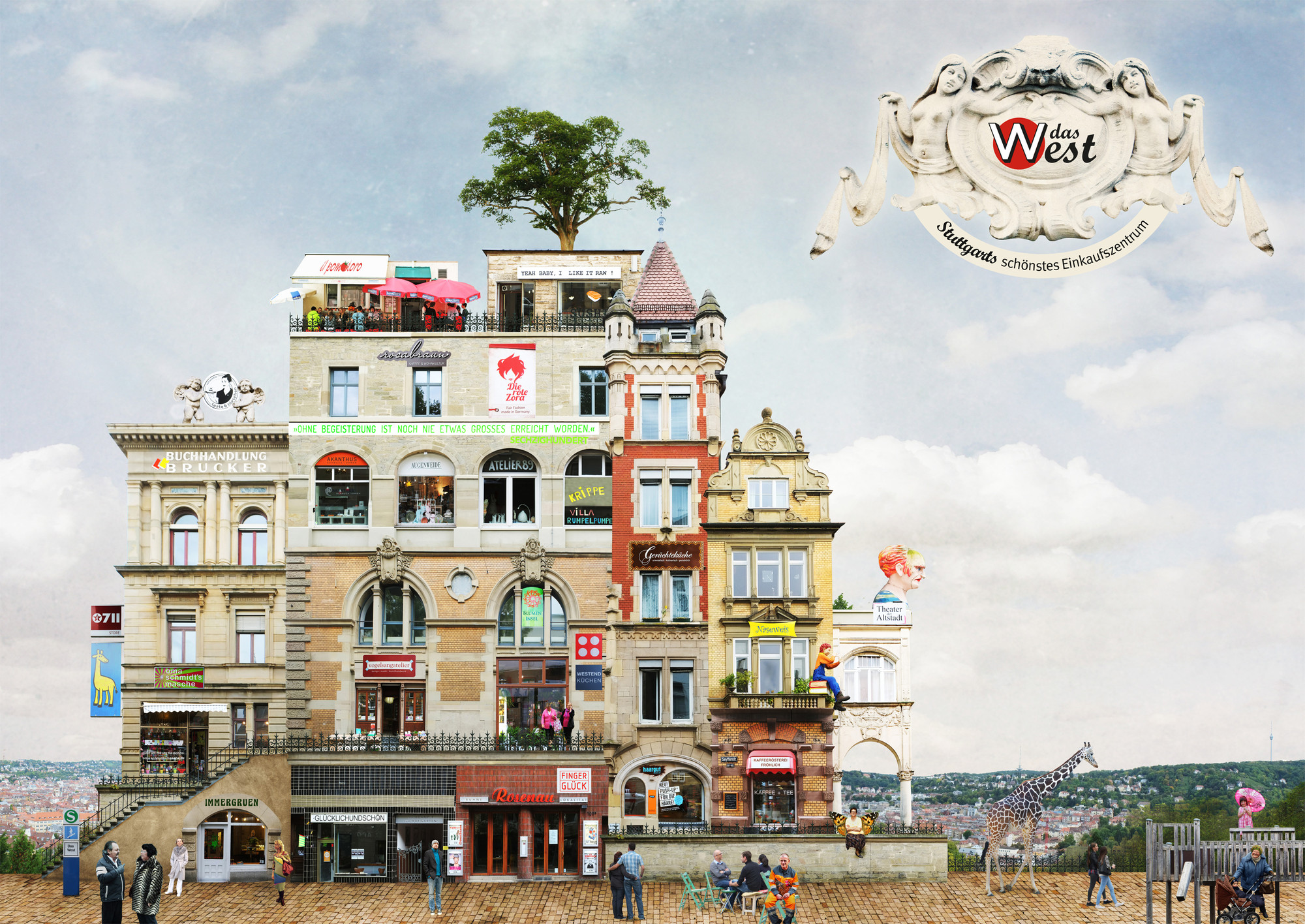 The West (a virtual shopping centre composed of buildings from Stuttgart). Imagen © Matthias Jung