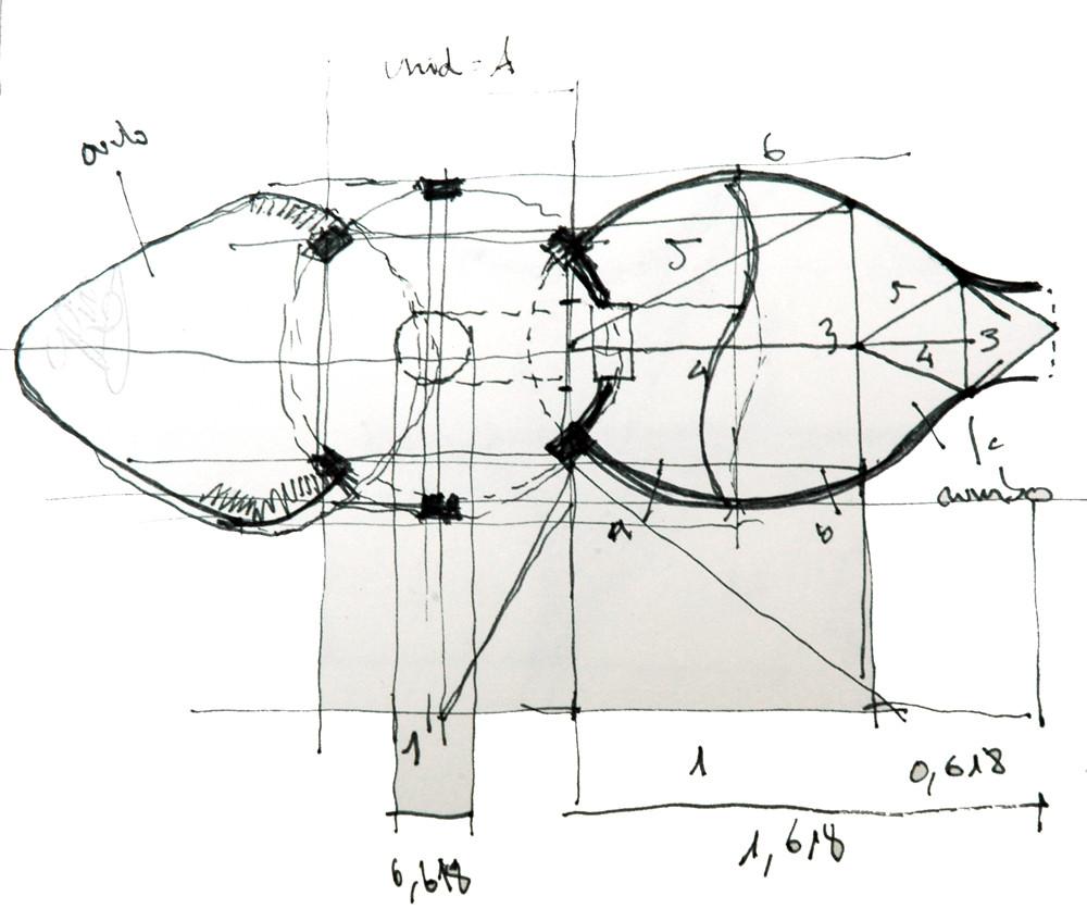 Figura 4 (derecha). Planta arquitectónica de una vivienda basada en la aplicación de proporciones armónicas presentes en la Naturaleza biológica.