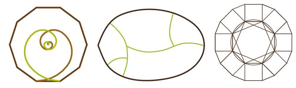 Figura 9. Esquemas conceptuales de las geometrías de los proyectos de vivienda. De izquierda a derecha tenemos la vivienda C&D (espirales de Oro inscritas en el decágono), la vivienda Z&J (sinusoides inscritas en una línea curva derivada del análisis de una hoja) y vivienda JL&A (octógono inscrito en un 16-avos)
