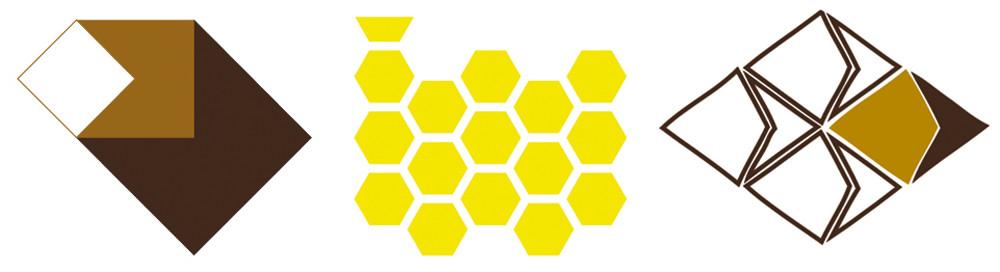 Figura 10. Esquemas conceptuales de las geometrías de los proyectos de vivienda. De izquierda a derecha tenemos la vivienda P&L (progresión geométrica con el cuadrado como módulo), la vivienda Módulo Orgánico (simetría con el módulo hexágono) y vivienda C&A (mosaico de Penrose)