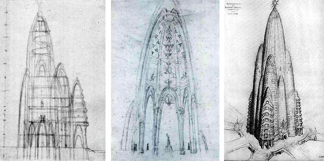 Never Built New York: Projects From Gaudí, Gehry and Wright that Didn't Make it in Manhattan, Sketches by Gaudí on the left, with Joan Matamala's drawing of the building on the right. Image Courtesy of 6sqft