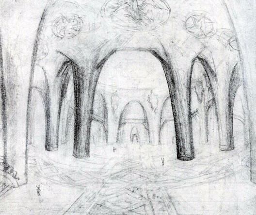 Croqui do interior feito por Gaudí. Cortesia de 6sqft