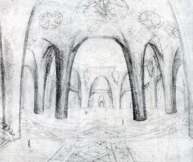 Dibujo interior de Gaudí. Imagen vía 6sqft