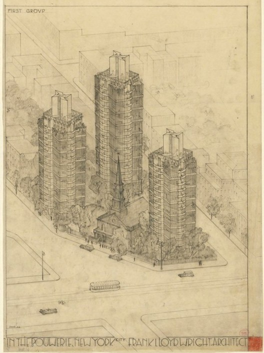 Frank Lloyd Wright's drawings for the project. Image © MoMA/Frank Lloyd Wright Foundation