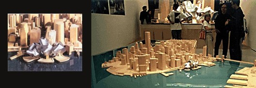 Modelo da proposta de Gehry que foi apresentado ao público. Imagem © Carter B. Horsley for The City Review