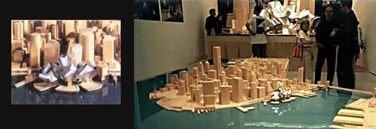 Las maquetas del diseño de Gehry que fueron exhibidos al público. Imagen © Carter B. Horsley for The City Review