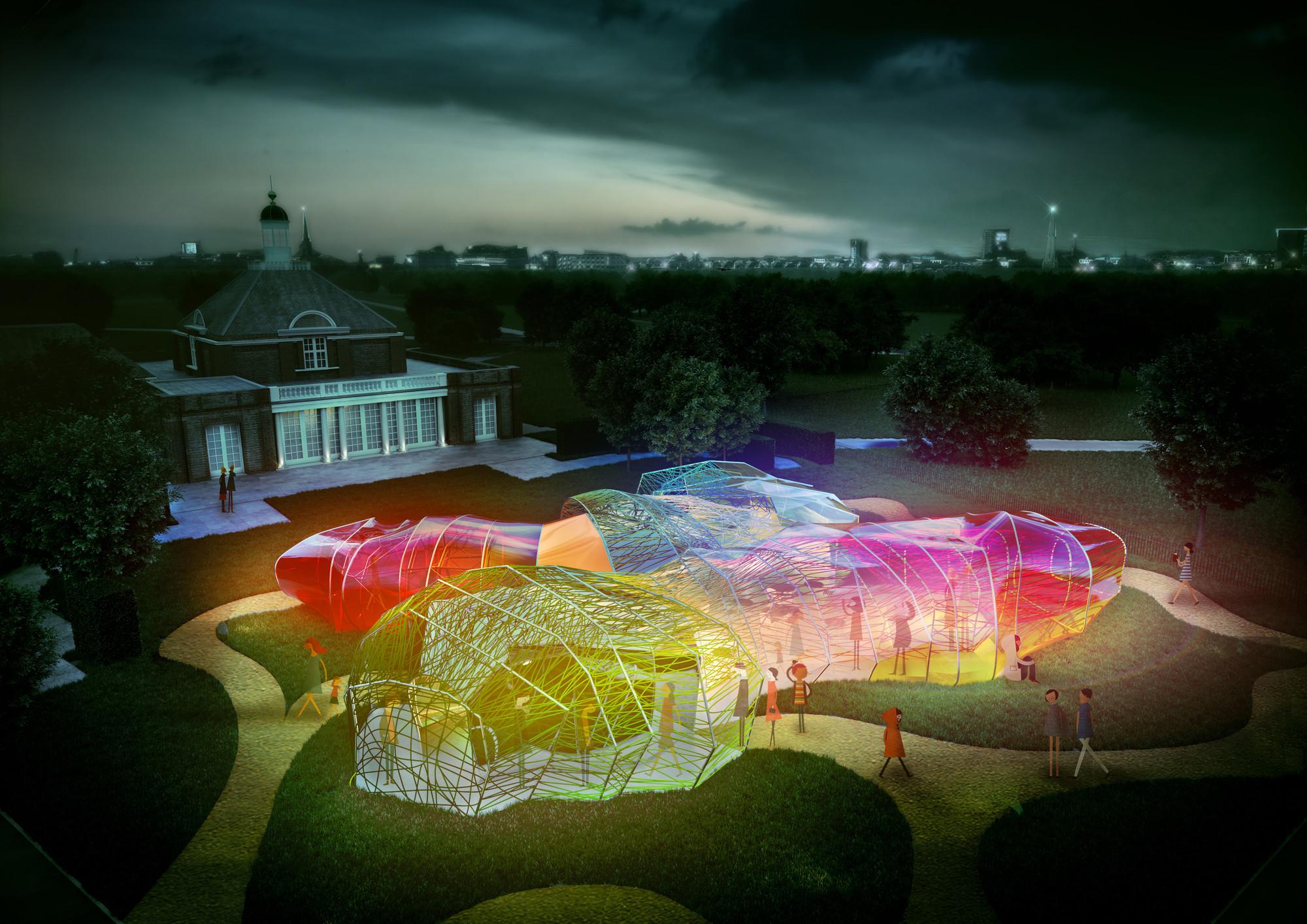 Serpentine Pavilion diseñado por SelgasCano 2015: vista nocturna. Imagen © Steven Kevin Howson / SelgasCano