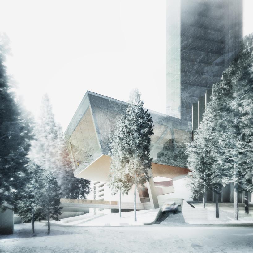 Podio. Imagen © Morphosis Architects