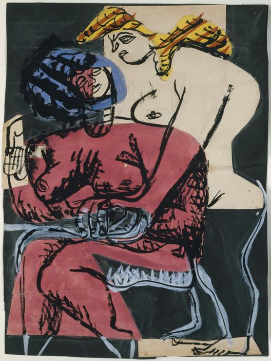 Deux Femmes (two women), 1948; Collage, gouache, tinta y lápiz grafito sobre papel (48.5 x 36.7 cm). Imagen © Galeria Eric Mouchet – Galeria Zlotowski
