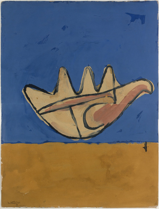 La Main Ouverte (The open hand), 1950; óleo sobre lienzo (63.5 x 48.3 cm). Firmado y fechado en el ángulo inferior izquiedo:  Le Corbusier / 50. Imagen © Galeria Eric Mouchet - Galeria Zlotowski
