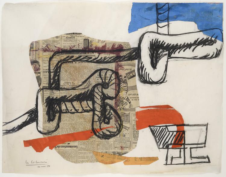 Corde et verres (rope and glasses), 16 Mayo 1954; Collage de periódicos, papel aguado y carboncillo sobre papel (48 x 62 cm). Imagen © Galeria Eric Mouchet – Galeria Zlotowski