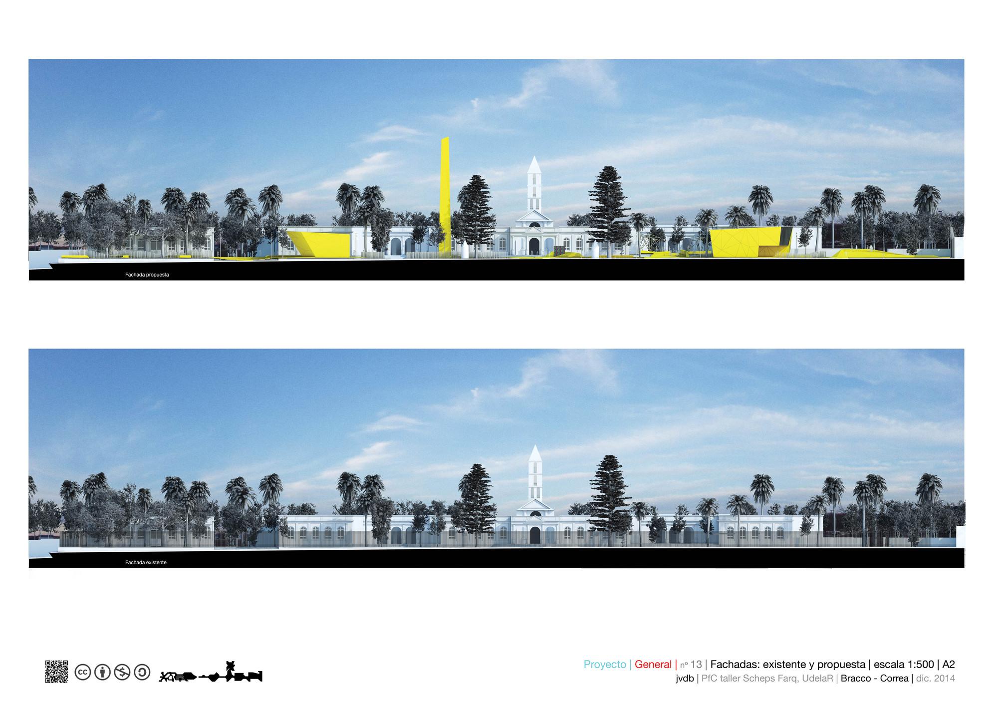 Fachadas/elevaciones: existentes y propuestas. Image Cortesia de Marcos Bracco y Nacho Correa