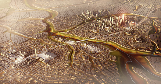 Image of the planned new capital of Egypt, masterplanned by SOM. Image © SOM