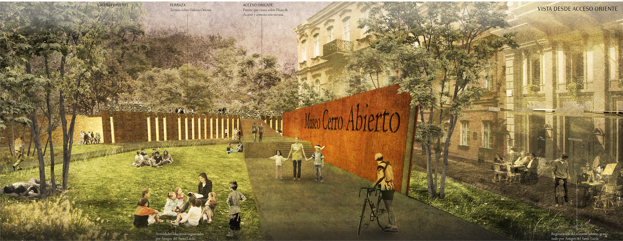 Vista desde acceso oriente. Image Cortesia de Fundación Cerros Isla + Macarena Gaete