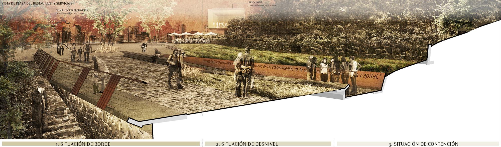 Vista/corte de la plaza de restaurant y servicios. Image Cortesia de Fundación Cerros Isla + Macarena Gaete