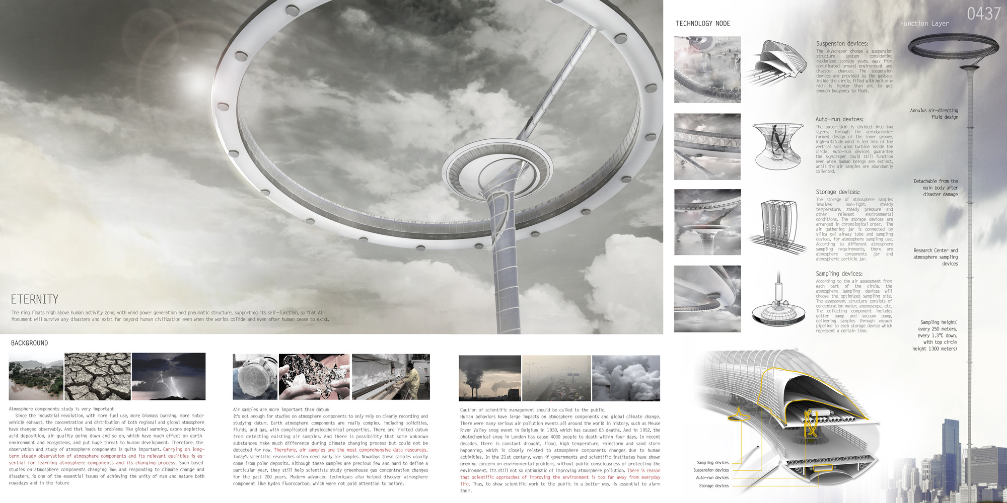 """Mención honrosa: """"Air Monument: Atmosphere Database"""" / Shi Yuqing, Hu Yifei, Zhang Juntong, Sheng Zifeng, He Yanan.  Imagen cortesía de eVolo"""