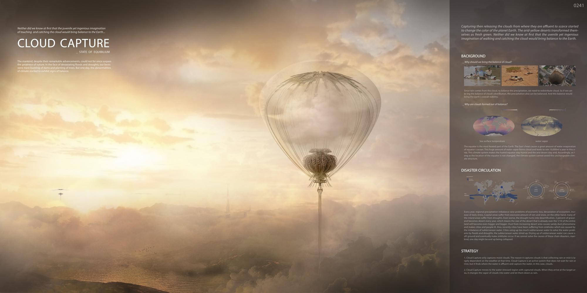 """Mención honrosa: """"Cloud Capture"""" / Taehan Kim, Seoung Ji Lee, Yujin Ha.  Imagen cortesía de eVolo"""