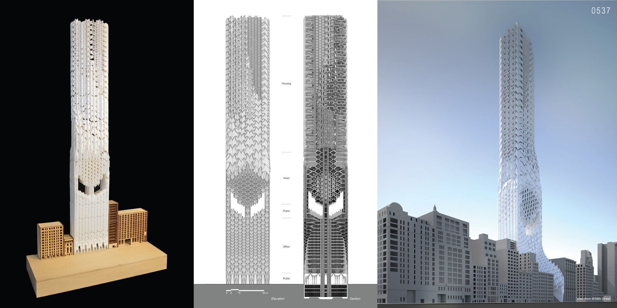 """Mención honrosa: """"Deep Skins: New Skyscraper Typology in NYC as an Adaptive Organism"""" / Yongsu Choung, Ge Zhang, Chuanjingwei Wang.  Imagen cortesía de eVolo"""