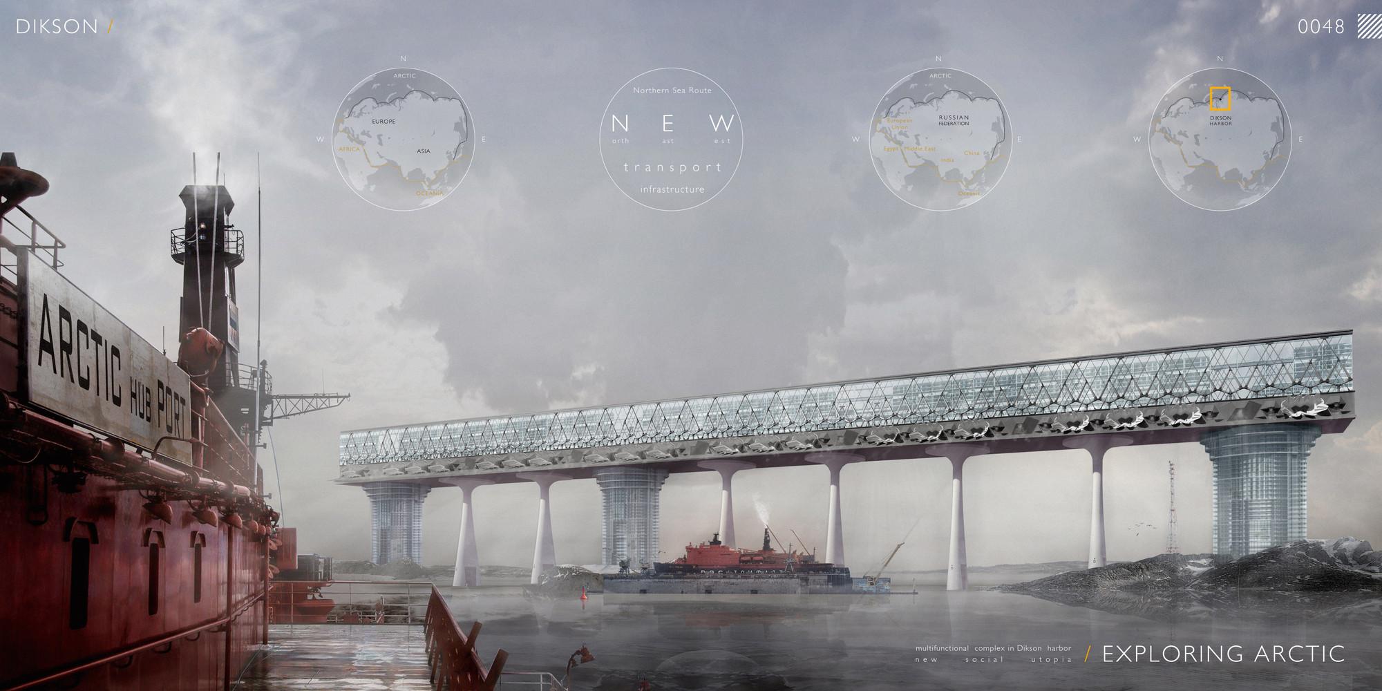 """Mención honrosa: """"Exploring Arctic: Multifunctional Complex in Dikson Harbor"""" / Nikolay Zaytsev, Elizaveta Lopatina.  Imagen cortesía de eVolo"""