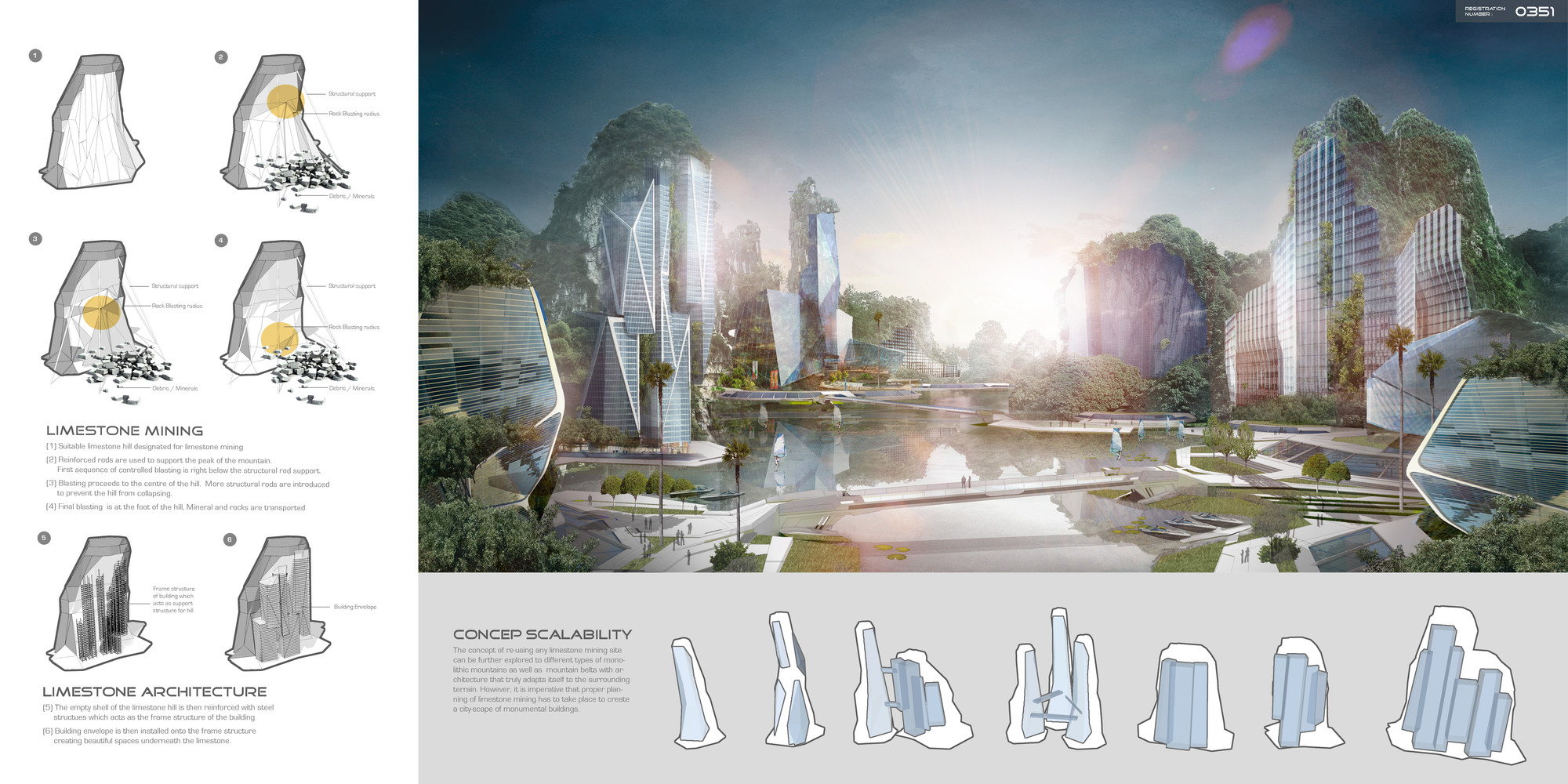 """Mención honrosa: """"Limestone Skyscrapers"""" / Jethro Koi Lik Wai, Quah Zheng Wei.  Imagen cortesía de eVolo"""