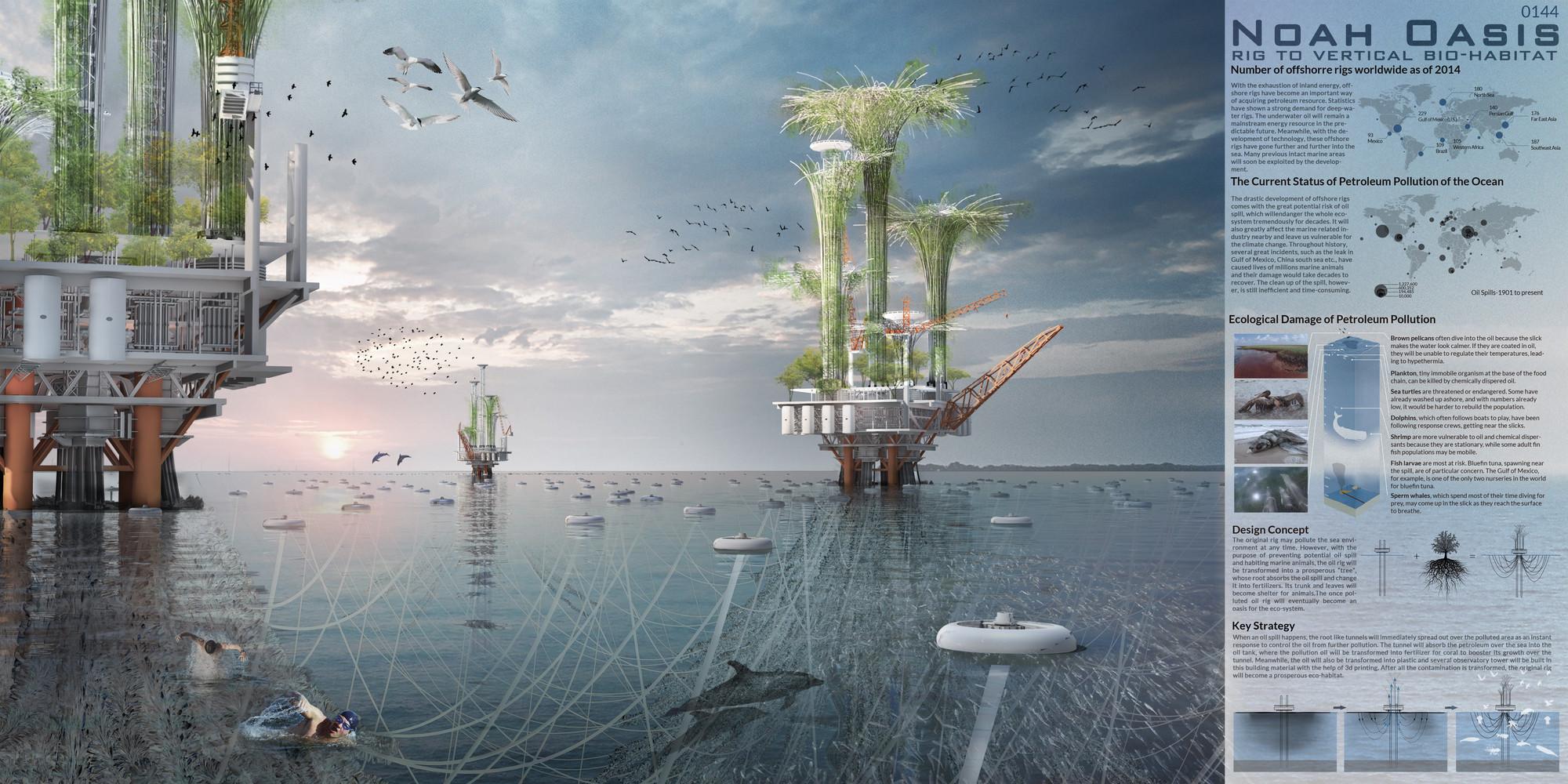 """Mención honrosa: """"Noah Oasis: Rig to Vertical Bio-Habitat"""" / Ma Yidong, Zhu Zhonghui, Qin Zhengyu, Jiang Zhe.  Imagen cortesía de eVolo"""