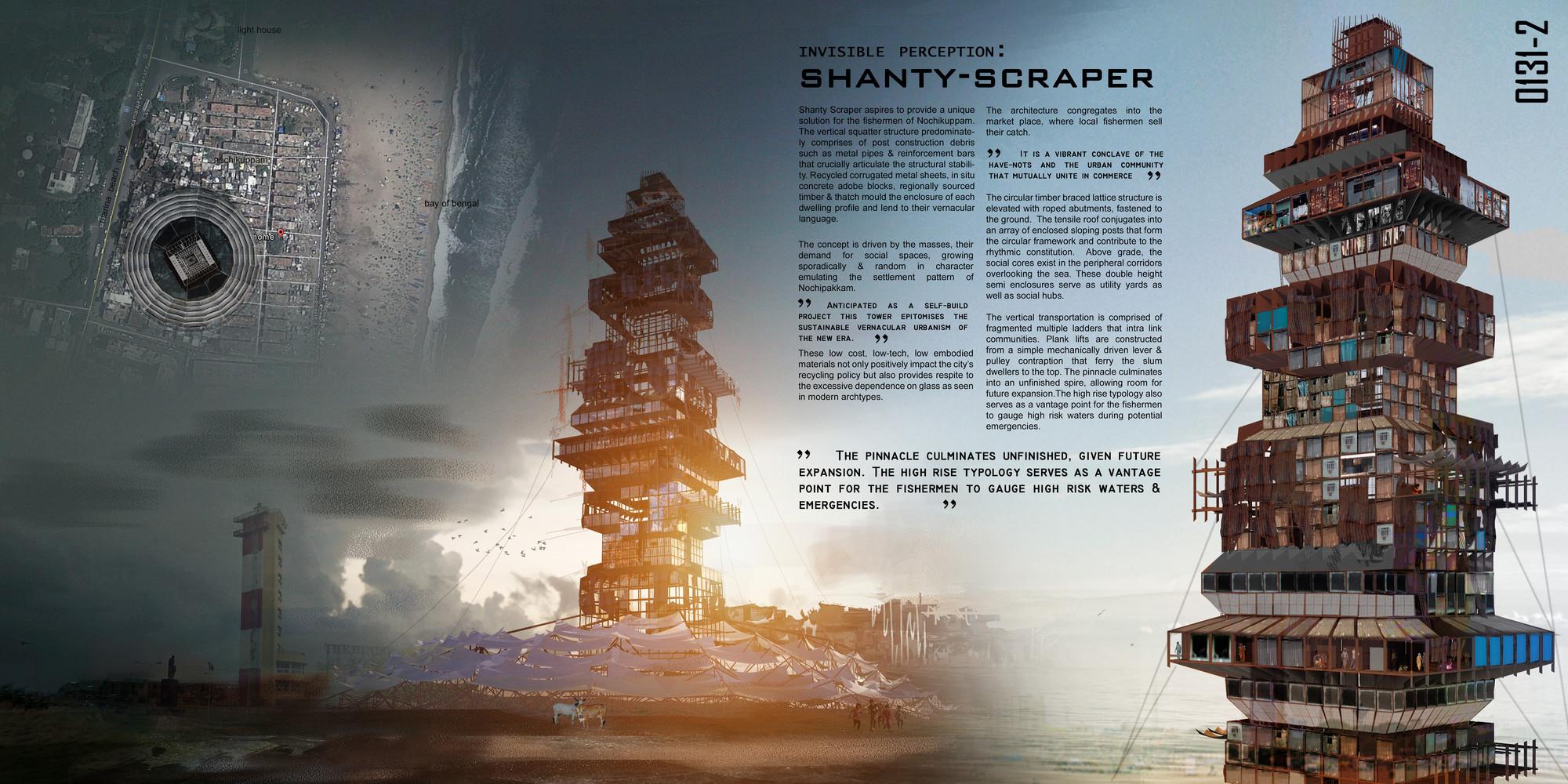 "Segundo lugar: ""Shanty-Scraper"" / Suraksha Bhatla and Sharan Sundar.  Imagen cortesía de eVolo"