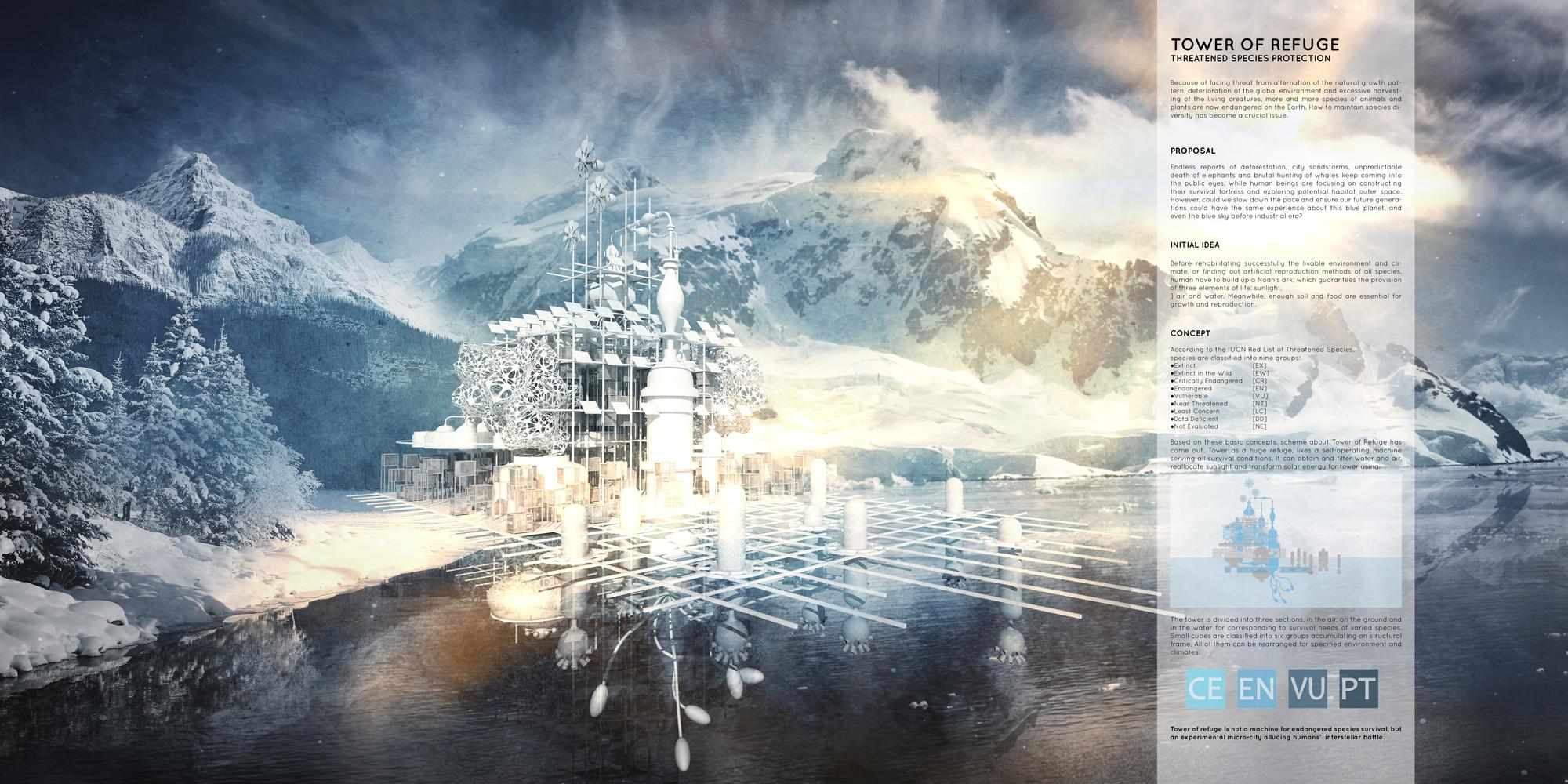 """Mención honrosa: """"Tower of Refuge"""" / Qidan Chen. Imagen cortesía de eVolo"""
