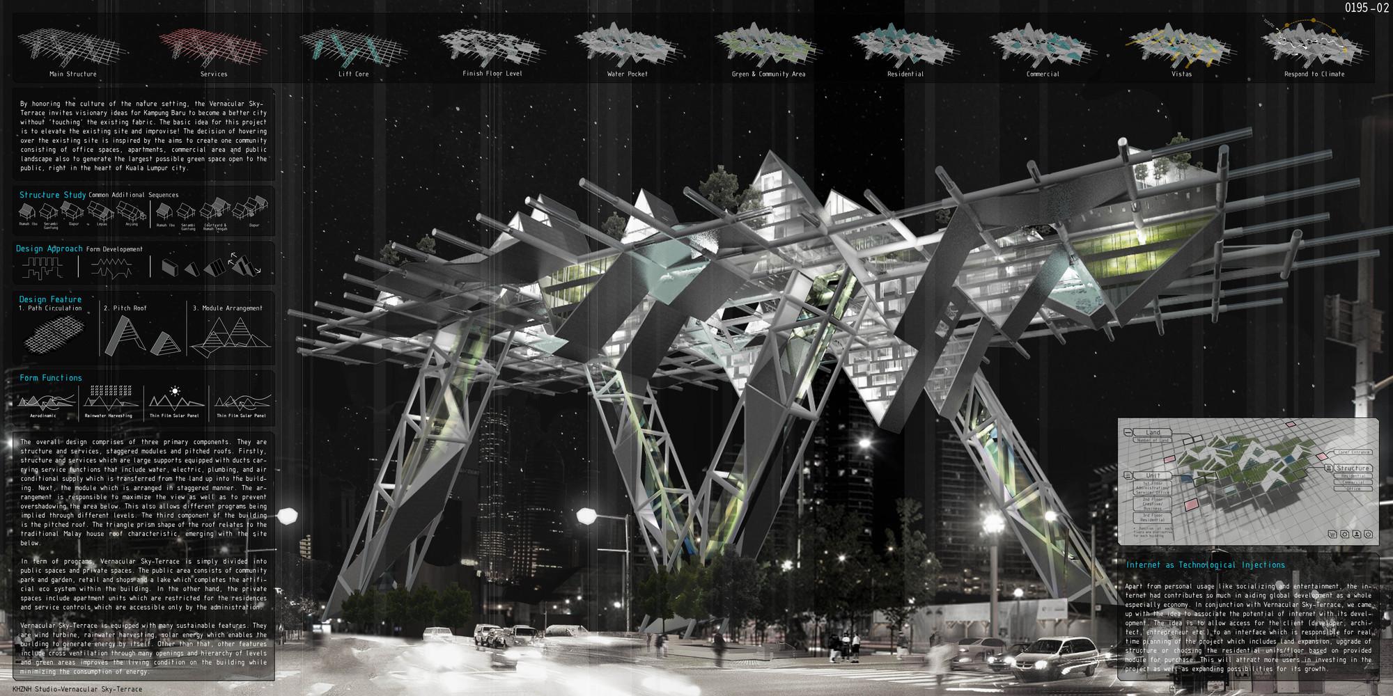 """Mención honrosa: """"Vernacular Sky-Terrace"""" / KHZNH Studio (Amir Izzat Adnan, Nur Farhanah Saffie) .  Imagen cortesía de eVolo"""