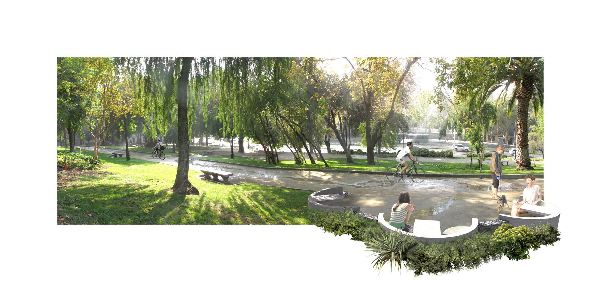 Áreas de descanso en parque perimentral. Image Cortesia de Mario Pérez de Arce Arquitectos y Asociados