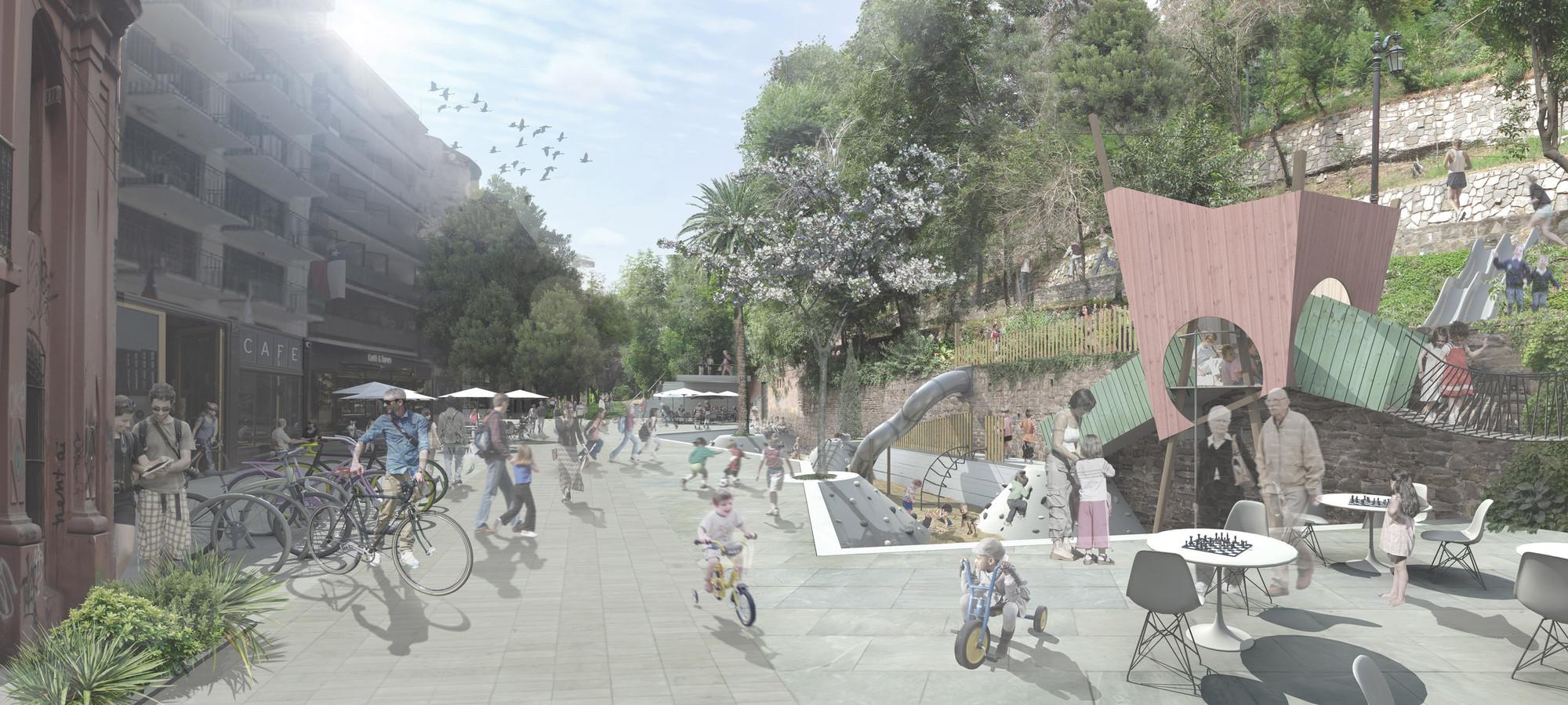 Victoria Subercaseaux peatonalizada. Image Cortesia de Mario Pérez de Arce Arquitectos y Asociados