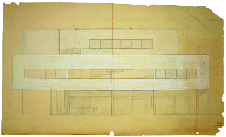 Elevation study of the southwest facade of Villa Savoye at Poissy, 1929, focussing upon the composition and proportioning of the openings and piloti, pencil and white pastel on trace, 75.5 x 126.2 cm (29 3/4 x 49 2⁄3 in). Image © Fondation Le Corbusier, Paris
