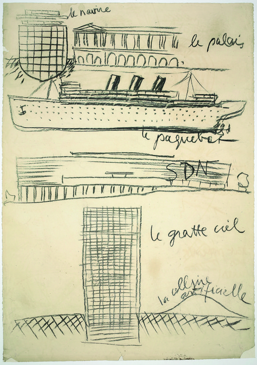 Le Corbusier, sketch drawn during Latin American lecture tour, 5 October 1929, charcoal on thick paper, 101 x 71.1 cm (39 3/4 x 28 in). Showing the transformations of the ocean liner, the skyscraper and the palace in the context of the League of Nations project (from Précisions, 1930). Image © Fondation Le Corbusier, Paris